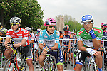 The jerseys lines up before the start, Red Mountains Juan Pablo Valencia (COL) Team Colombia, Turquoise Overall Leader Kristijan Durasek (CRO) Lampre-Merida and Green Sprint Daniele Ratto (ITA) United Healthcare, Stage 8 of the 2015 Presidential Tour of Turkey running 124km from Istanbul to Istanbul. 3rd May 2015.<br /> Photo: Tour of Turkey/Mario Stiehl/www.newsfile.ie