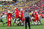 Illinois State Redbirds linebacker Pat Meehan (33) and Illinois State Redbirds defensive lineman Teddy Corwin (87) in action during the FCS Championship game between the North Dakota State Bison and the Illinois State Redbirds at the Toyota Stadium in Frisco, Texas. North Dakota defeats Illinois 29 to 27.