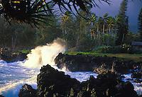 Waves crashing on coastline at Keanae peninsula, Hana coast of Maui