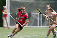 NEWTON, MA - MAY 14: Elizabeth Talluto #30 of Fairfield University on the attack during NCAA Division I Women's Lacrosse Tournament first round game between Fairfield University and Boston College at Newton Campus Lacrosse Field on May 14, 2021 in Newton, Massachusetts.
