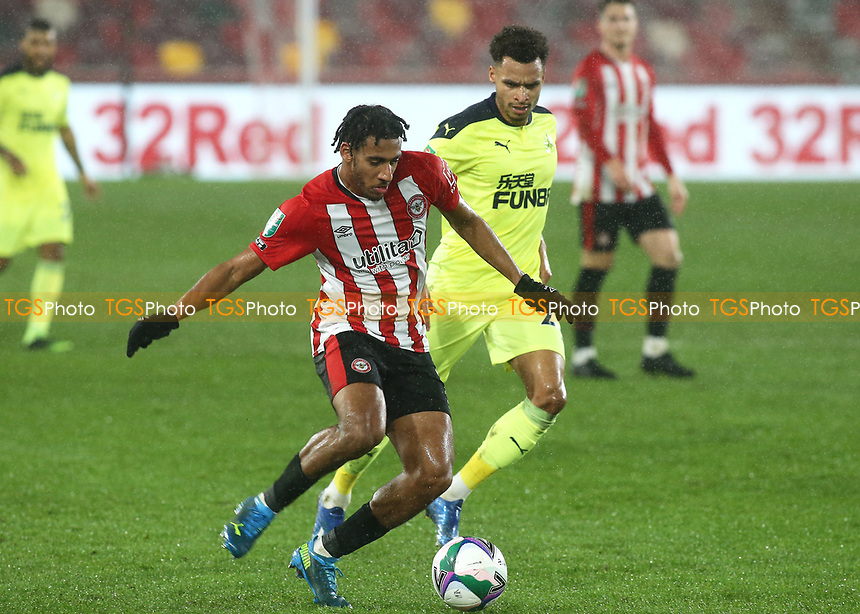 Dominic Thompson of Brentford in action during Brentford vs Newcastle United, Carabao Cup Football at the Brentford Community Stadium on 22nd December 2020