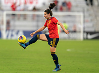 ORLANDO, FL - MARCH 05: Ivana Andres Sanz #5 of Spain controls the ball during a game between Spain and Japan at Exploria Stadium on March 05, 2020 in Orlando, Florida.