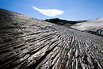 A cloud hangs above glacial polish, Patagonian Ice Cap, Los Glaciares National Park, Argentina