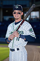 Gwinnett Stripers outfielder Drew Waters (11) poses for a photo prior to the game against the Scranton/Wilkes-Barre RailRiders at Coolray Field on August 18, 2019 in Lawrenceville, Georgia. The RailRiders defeated the Stripers 9-3. (Brian Westerholt/Four Seam Images)