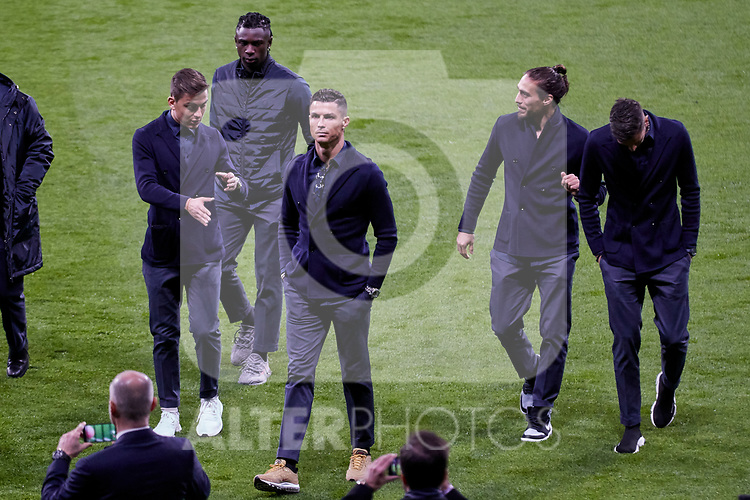 Juventus' players Paulo Dybala, Moise Kean, Cristiano Ronaldo and Martin Caceres during the Press Conference before UEFA Champions League match between Atletico de Madrid and Juventus at Wanda Metropolitano Stadium in Madrid, Spain. February 19, 2019. (ALTERPHOTOS/A. Perez Meca)