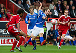 Aberdeen v St Johnstone... 23.07.11   SPL Week 1.Stevie May has a shot at goal.Picture by Graeme Hart..Copyright Perthshire Picture Agency.Tel: 01738 623350  Mobile: 07990 594431