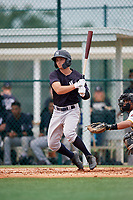 GCL Yankees East second baseman Matt McGarry (10) follows through on a swing during the second game of a doubleheader against the GCL Pirates on July 31, 2018 at Pirate City Complex in Bradenton, Florida.  GCL Pirates defeated GCL Yankees East 12-4.  (Mike Janes/Four Seam Images)