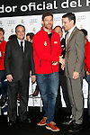 Real Madrid player Xabi Alonso (c) and the President Florentino Perez participate and receive new Audi during the presentation of Real Madrid's new cars made by Audi at the Jarama racetrack on November 8, 2012 in Madrid, Spain.(ALTERPHOTOS/Harry S. Stamper)