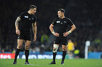 Sonny Bill Williams of New Zealand speaks to Dan Carter of New Zealand during the Rugby World Cup Final between New Zealand and Australia - 31/10/2015 - Twickenham Stadium, London<br /> Mandatory Credit: Rob Munro/Stewart Communications