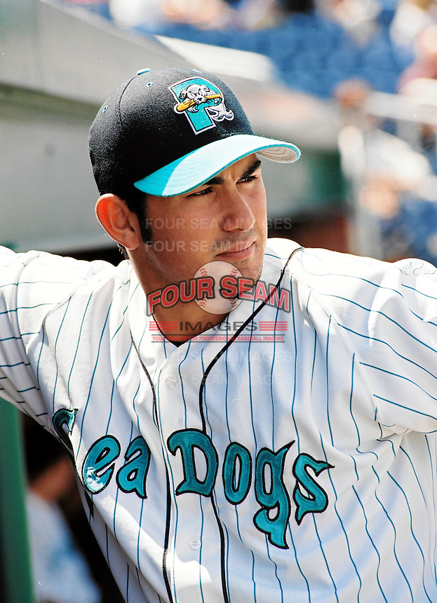 San Diego Padres 1B Adrian Gonzalez of the Portland Sea Dogs, the AA affiliate of the Florida Marlins in 2002 ,at Hadlock Field in Portland, ME in 2002  (Photo by Ken Babbitt/Four Seam Images)