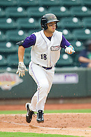 Joey DeMichele (18) of the Winston-Salem Dash hustles down the first base line against the Frederick Keys at BB&T Ballpark on July 21, 2013 in Winston-Salem, North Carolina.  The Dash defeated the Keys 3-2.  (Brian Westerholt/Four Seam Images)