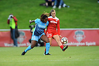 Boyds, MD - Saturday May 6, 2017: Kayla Mills, Meggie Dougherty Howard during a regular season National Women's Soccer League (NWSL) match between the Washington Spirit and Sky Blue FC at Maureen Hendricks Field, Maryland SoccerPlex.