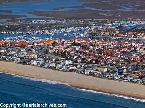 aerial photograph of Surfside and Sunset Beach, Orange County, California