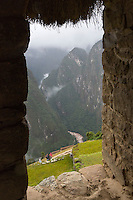 Peru, Machu Picchu.  Urubamba River Seen from Guardhouse.
