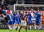 29.02.2020 Hearts v Rangers: Rangers players appeal for handball
