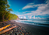 A hiker's view of Awini Beach on the north shore of the Big Island of Hawai'i.