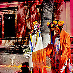Female skeleton figures, forming a part of the public altar (ofrenda), are seen on the street during the celebrations of the Day of the Dead (Día de Muertos) holiday in Morelia, Michoacán, Mexico, 2 November 2014.
