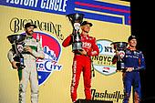 #8: Marcus Ericsson, Chip Ganassi Racing Honda celebrates winning, #9: Scott Dixon, Chip Ganassi Racing Honda, #29: James Hinchcliffe, Andretti Steinbrenner Autosport Honda