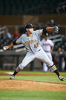 Surprise Saguaros pitcher Alex McRae (47), of the Pittsburgh Pirates organization, during a game against the Salt River Rafters on October 21, 2016 at Salt River Fields at Talking Stick in Scottsdale, Arizona.  Salt River defeated Surprise 3-2.  (Mike Janes/Four Seam Images)