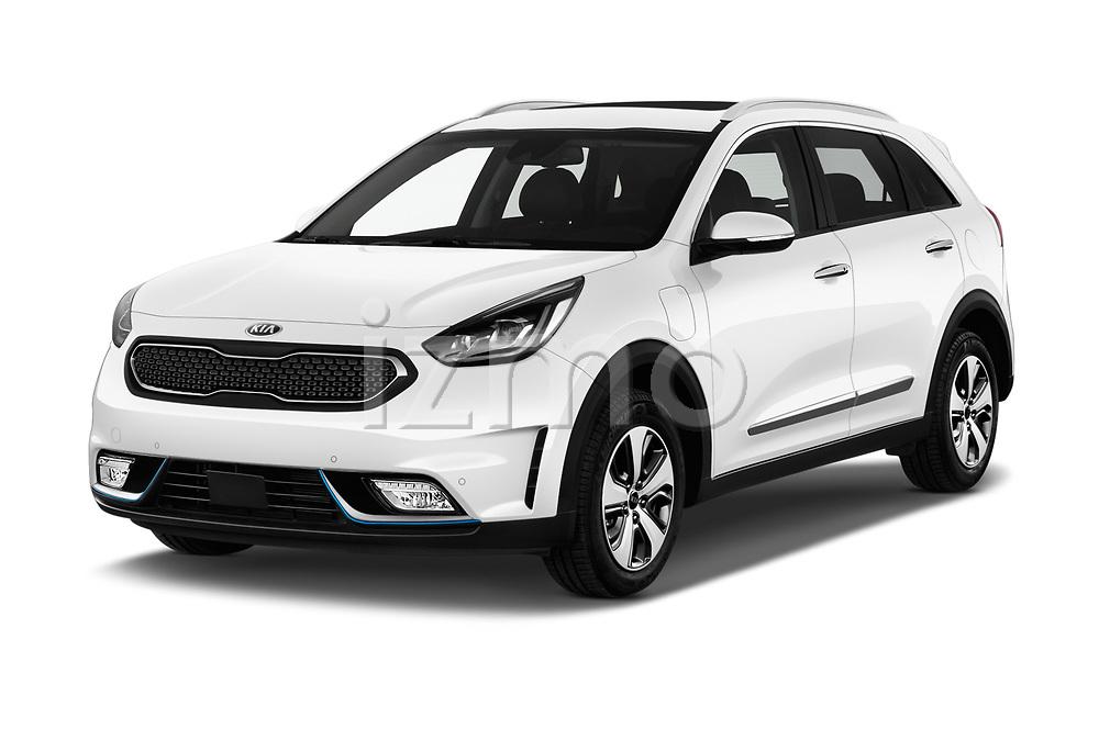 2018 KIA Niro Plug-in Hybrid Sense 5 Door SUV angular front stock photos of front three quarter view