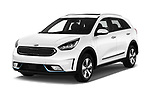 2018 KIA Niro Plug-in Hybrid Sense 5 Door SUV angular front stock photos of front three quarter view