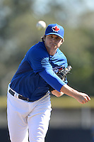 Toronto Blue Jays pitcher Chad Jenkins (64) during a spring training game against the Pittsburgh Pirates on February 28, 2014 at Florida Auto Exchange Stadium in Dunedin, Florida.  Toronto defeated Pittsburgh 4-2.  (Mike Janes/Four Seam Images)