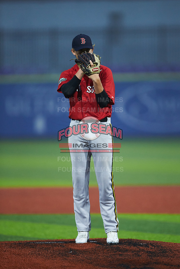 Dylan Smith of Cleveland High School (NC) playing for the Red Sox scout team during the South Atlantic Border Battle Futures Game at Truist Point on September 25, 2020 in High Pont, NC. (Brian Westerholt/Four Seam Images)