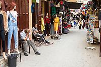Fes, Morocco.  Street Scene in the Medina, Tala'a Seghira, Fes El-Bali.