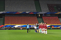 line up of both teams pictured before  the 2nd Womens International Friendly game between France and Switzerland at Stade Saint-Symphorien in Longeville-lès-Metz, France.