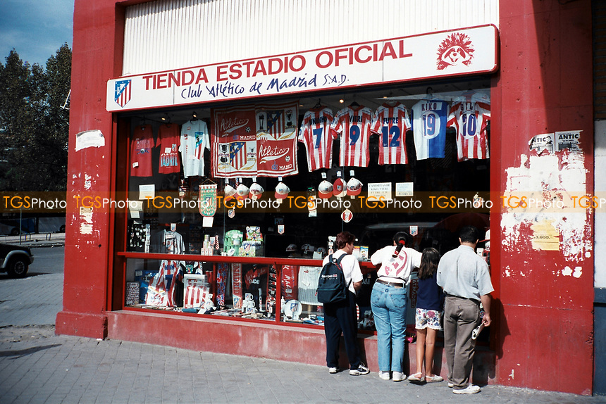 The club shop at Estadio Vicente Calderon, home of Atletico Madrid FC