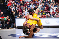 STANFORD, CA - March 7, 2020: Jared Hill of Stanford and Anthony Valencia of Arizona State University during the 2020 Pac-12 Wrestling Championships at Maples Pavilion.