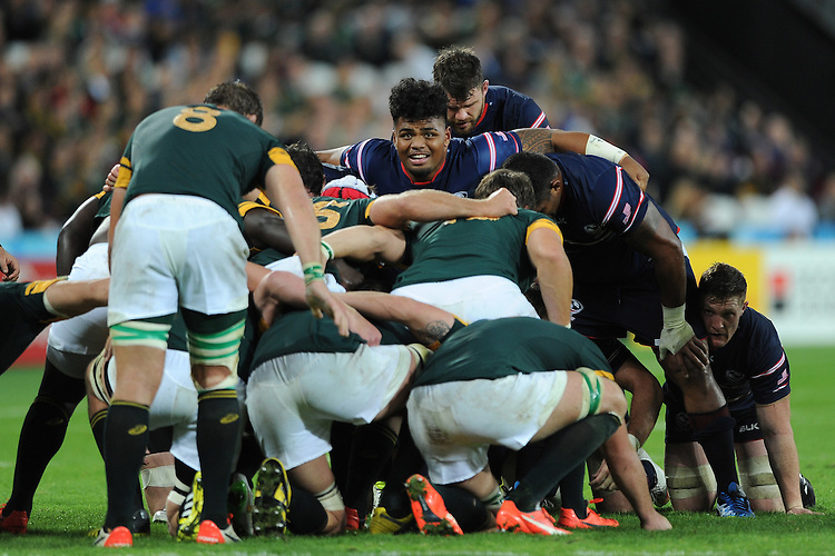 07 October 2015: Joe Taufete'e of USA prepares to scrum down during Match 31 of the Rugby World Cup 2015 between South Africa and USA - Queen Elizabeth Olympic Park, London, England (Photo by Rob Munro/CSM)