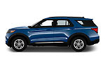 Car Driver side profile view of a 2020 Ford Explorer XLT 5 Door SUV Side View