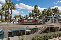Las Vegas, Nevada.  Monorail Passing through Station.