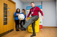 Friday 10 February 2017<br /> Pictured: Paul Petts of BT keeps the ball up during the event <br /> Re:Welsh Government Dementia Risk Prevention Roadshow at the BT building, Swansea, Wales, UK