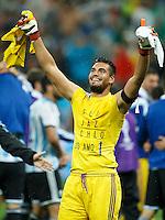 Goalkeeper Sergio Romero of Argentina celebrates going through to the World Cup final