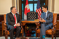 U.S. Secretary of State Michael R. Pompeo meets with Canadian Prime Minister Justin Trudeau at West Block at Parliament Hill Ottawa, Canada on August 22, 2019. [State Department photo by Ron Przysucha/ Public Domain]