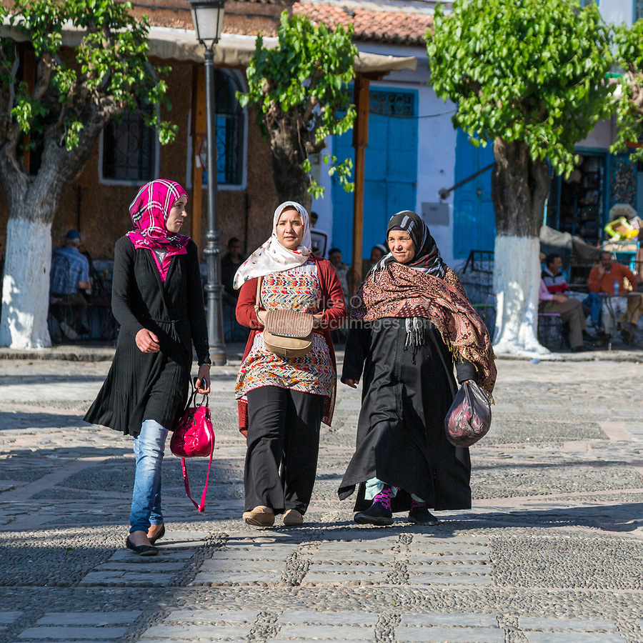 Chefchaouen, Morocco.  Women's Dress Styles by Generation, Young, Middle, and Older.
