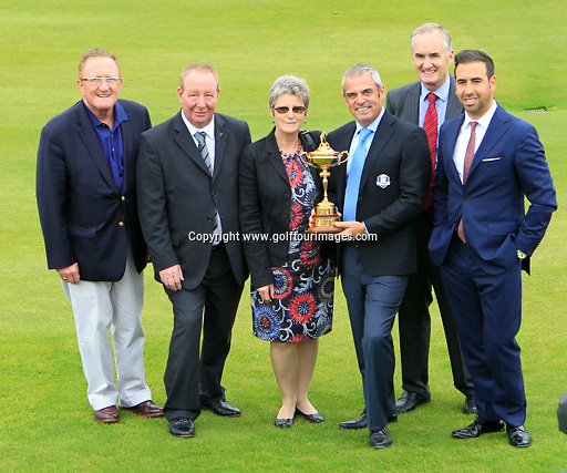 European Ryder Cup Captain Paul McGinley with from left Richard Hills, Ryder Cup Director and representatives of The Official Charities for The 2014 Ryder Cup -  from left Paul Moore, Chief Executive Quarriers, Kathleen Smith, Vice Chairperson Perth and Kinross Disability Sport, Paul McGinley, Dr James Grant, Chairman, Friends of St Margaret's Hospital and Dan Moore, Trustee - The McGinley Foundation. The announcement was made ahead of the 2013 Johnnie Walker Championship being played over the PGA Centenary Course, Gleneagles, Perthshire from 22nd to 25th August 2013: Picture Stuart Adams www.golftourimages.com: 20th August 2013