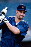 Bobby Higginson of the Detroit Tigers plays in a baseball game at Edison International Field during the 1998 season in Anaheim, California. (Larry Goren/Four Seam Images)