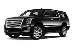 Stock pictures of low aggressive front three quarter view of 2020 Cadillac Escalade-ESV Premium-Luxury 5 Door SUV Low Aggressive
