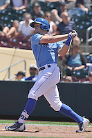 Omaha Storm Chasers Hunter Dozier (33) swings during the Pacific Coast League game against the Nashville Sounds at Werner Park on June 5, 2016 in Omaha, Nebraska.  Omaha won 6-4.  (Dennis Hubbard/Four Seam Images)