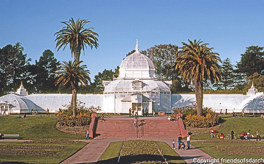 San Francisco: Conservatory, Golden Gate Park. Manufactured by Lord & Burnham, Irvington N.Y., 1875. (after Kew Gardens)  Photo '83.