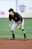 Bristol Pirates second baseman Chase Lambert (2) during the second game of a doubleheader against the Bluefield Blue Jays on July 25, 2018 at Bowen Field in Bluefield, Virginia.  Bristol defeated Bluefield 5-2.  (Mike Janes/Four Seam Images)