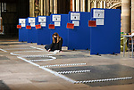 Pictured: Roz Mitchell prepares the HOPE candle feature at Salisbury cathedral. <br /> <br /> As we approach the one year anniversay since the UK went in to its first lockdown due to COVID-19, Salisbury cathedral has set up a lit candle feature as a sign of encouragement for the public. The feature, which used 1,000 candles in total, is meant to inspire hope as the government's plans for the UK to leave its third and final lockdown are implemented. <br /> <br /> The temporary feature has been set up during a free day from its vaccination schedule, which has been taken place at the cathedral since 16th January. An estimated 1,000 daily vaccinations take place at Salisbury cathedral on three scheduled days a week, approaching 20,000 inoculations since the scheme began.<br /> <br /> © Ewan Galvin/Solent News & Photo Agency<br /> UK +44 (0) 2380 458800