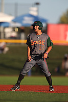 Jensen Park (12) of the Boise Hawks leads off of second base during a game against the Hillsboro Hops at Ron Tonkin Field on August 21, 2015 in Hillsboro, Oregon. Boise defeated Hillsboro, 7-1. (Larry Goren/Four Seam Images)