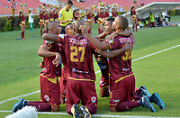IBAGUÉ - COLOMBIA, 17-03-2018: Angelo Rodriguez (Izq) jugador del Deportes Tolima celebra después de anotar un gol a Boyaca Chico durante partido por la fecha 9 de la Liga Águila I 2018 jugado en el estadio Manuel Murillo Toro de Ibagué. / Angelo Rodriguez (L) player of Deportes Tolima celebrates after scoring a goal to Boyaca Chico during match for date 9 of the Aguila League I 2018 played at Manuel Murillo Toro stadium in Ibague city. Photo: VizzorImage / Juan Carlos Escobar / Cont