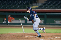 AZL Padres 2 designated hitter Blake Hunt (27) starts down the first base line against the AZL Giants on July 13, 2017 at Scottsdale Stadium in Scottsdale, Arizona. AZL Giants defeated the AZL Padres 2 11-3. (Zachary Lucy/Four Seam Images)