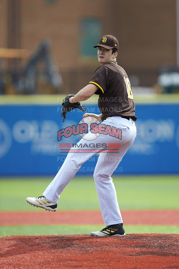 Luke Holman (16) of Wilson West Lawn High School (PA) playing for the San Diego Padres scout team during game five of the South Atlantic Border Battle at Truist Point on September 27, 2020 in High Pont, NC. (Brian Westerholt/Four Seam Images)