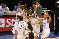 10 March 2008: Stanford Cardinal (not in order) Jayne Appel, Kayla Pedersen, Candice Wiggins, JJ Hones, Rosalyn Gold-Onwude, Ashley Cimino, and Hannah Donaghe during Stanford's 56-35 win against the California Golden Bears in the 2008 State Farm Pac-10 Women's Basketball championship game at HP Pavilion in San Jose, CA.